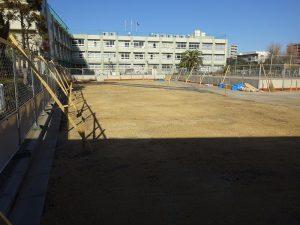 葛飾区内の小学校(2校)芝生化工事中