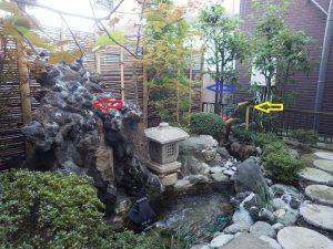 個人様宅 和風の庭の事例 池作りと鹿威し(ししおどし)